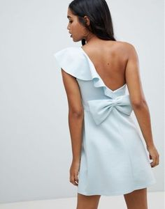 Buy ASOS DESIGN ruffle shoulder scuba mini dress with bow back at ASOS. With free delivery and return options (Ts&Cs apply), online shopping has never been so easy. Get the latest trends with ASOS now. Asos, Wedding Outfits For Women, Mini Skater Dress, Bow Back, Latest Dress, Dress With Bow, Fashion Online, Evening Dresses, Fashion Dresses