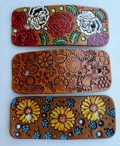 Hand Painted Tooled Leather Hair Barrette With Stick,Rose Leather Hair Barrette,Sunflowers Hair Clip,Floral Design with butterflies hair pin by BaublesAndBlingCo on Etsy Hair Barrettes, Hair Clips, Rose Design, Floral Design, Leather Tooling, Tooled Leather, Leather Bag, Sunflower Design, Different Tones