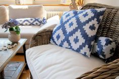 different cushions in IKAT design Coin, Ikat, Interior Decorating, Cushions, Throw Pillows, Bed, Design, Inspiration, Biblical Inspiration