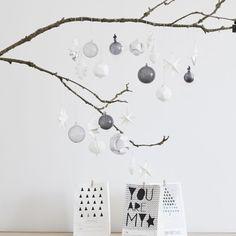 Boules de Noël en verre strié transparent gris brun (par 3) Hüsbch