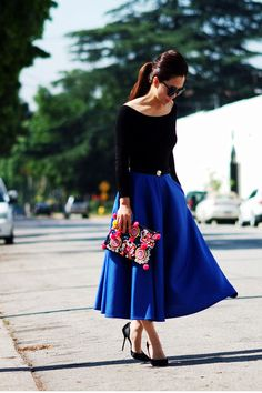 blue skirt - finished with black touches for an elegant style