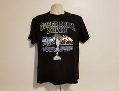 be1e55908 NFL Super Bowl XLVIII Seahawks vs Broncos Adult Medium Black T-Shirt
