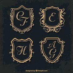 Set of gold shield monograms Free Vector