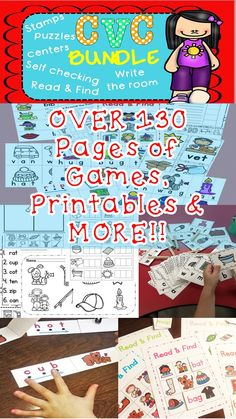 CVC Phonics - Phonemic Awareness Self-Checking Differentiated Games, Worksheets, Learning Kindergarten