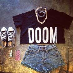 Black & white DOOM crop top, denim high waisted shorts, & studded black & white all-star converse
