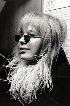Marianne Faithfull, pictured at Heathrow Airport en-route to an Italian pop festival, 1967.