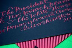 fuchsia calligraphy on navy envie ~ pretty