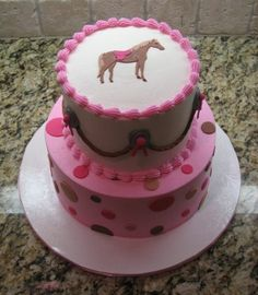 Birthday cowgirl - This cake was done for a first birthday to match the invitations. The cake is done in buttercream with fondant accents. The horse is made using a patchwork cutter. Cowgirl Birthday Cakes, Cowgirl Cakes, Cowgirl Party, Birthday Cake Girls, First Birthday Cakes, Birthday Ideas, 2nd Birthday, Horse Party, Birthday Parties