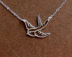 Small sterling silver bird in flight necklace, swallow, bird pendant, sparrow, bird necklace, silver bird charm, silver bird necklace