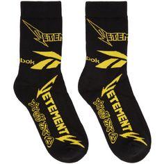 Vetements Black Reebok Edition Metal Socks ($90) ❤ liked on Polyvore featuring intimates, hosiery, socks, black and metal socks