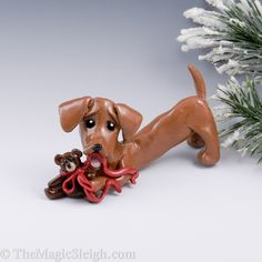 dachshund ornament figurine teddy bear porcelain