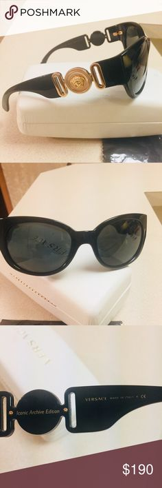 Versace Sunglasses brand new without tag Guaranteed 100% Authentic VERSACE Sunglasses.  Condition: Brand New.  Made in Italy.  Model No.  4265     Color:   (HAVANA FRAMES, SOLID Black LENSES)  Original VERSACE Trademark Case, Cleaning Cloth  Size (mm): Versace Accessories Glasses