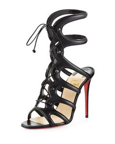 Amazoulo Lace-Up Red Sole Sandal, Black by Christian Louboutin at Bergdorf Goodman.