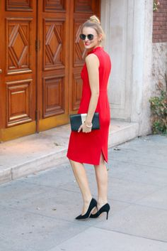 Classic holiday red dress with a feminine bow accent @maggylondon @samedelman
