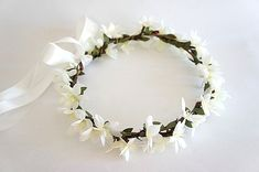 Flower Crown White Orchids Pip Berries Green Leaves Weddings, Bridal,Bridesmaid White Orchids, Flower Crowns, Bridal Accessories, Green Leaves, Berries, Bridesmaid, Weddings, Flowers, Jewelry