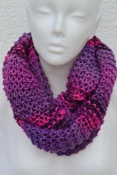 Loop Loops Schlauchschal Schal pink lila meliert strick gestrickt Damen