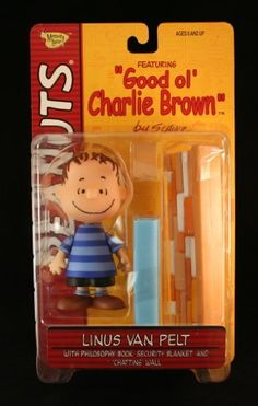 LINUS VAN PELT (BLUE SHIRT & CLASSIC SMILE) with Philosophy Book Security Blanket and Chatting Wall @ niftywarehouse.com #NiftyWarehouse #Peanuts #CharlieBrown #Comics #Gifts #Products