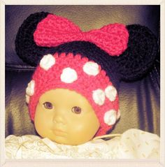 Minnie Mouse Inspired Doll Hat Free Shipping by NStitchesCrochet, $14.00