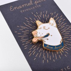 Dog enamel pin  White Dog head pin by BalticClub on Etsy