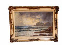 """BERTONI - """"Marinha"""" óleo sobre tela, assinado, ricamente emoldurado. Medida da tela 39x58."""
