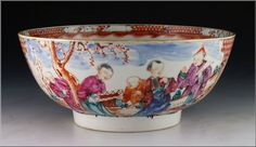 Fine Antique 18thC Chinese Export Porcelain Bowl w/ Mandarin Characters