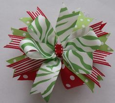 Christmas Hair Bow - Beautiful  Layered Red and Green. $6.00, via Etsy.