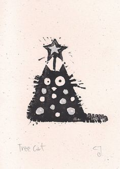 Tree Cat - lino cut print Christmas card (silver) £2.40...
