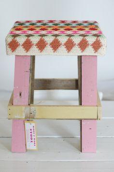 wood  wool harlequin stool. €95.00, via Etsy.