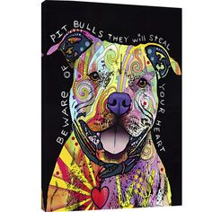 An eye-catching addition to your living room or master suite, this vibrant canvas print showcases a pitbull in a bold, street art-inspired palette.