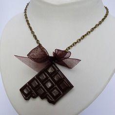 Sautoir chocolat noir  - 100% fait main