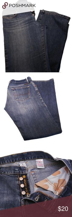 """Luck Brand Jeans Easy Rider Dungarees Luck Brand Jeans Easy Rider Dungarees. Size 8, 33"""" Inseam Button-Fly - MISSING TOP BUTTON One of my favorite pairs of jeans, always just wore a belt and the missing button wasn't noticeable. Jeans Straight Leg"""