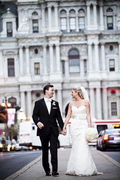 Beautiful bride and groom. JLM Couture real bride in Alvina Valenta