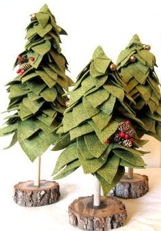 arboles de navidad de fieltro