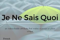 Je Ne Sais Quois 13 words not in the English Language