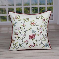 Embroidered flowers throw pillow Chinese style sofa cushions