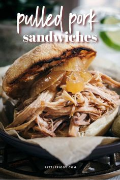 Easy to make Pulled Pork, perfect for pulled pork sandwiches. This slow cooker recipe is great for sharing with friends and family, makes a delicious tailgate food, and can be enjoyed any time of year. Get the recipe and learn how to make slow cooker pulled pork sandwiches at Little Figgy Food. #pork #tailgate #recipes #pulledpork #lunch #dinner #slowcooker Pulled Pork Meat, Making Pulled Pork, Side Dish Recipes, Pork Recipes, Slow Cooker Recipes, Tailgating Recipes, Tailgate Food, Pork Sandwich, Sandwich Recipes