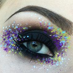black smokey eye +splattered dots in purple, turquoise + yellow | fun / editorial / creative makeup @marioncameleon