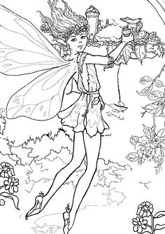 Free Online The Enchanted Fairy Colouring Page - Kids Activity Sheets: Fairy Colouring Pages