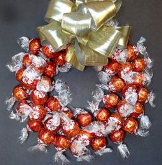 Chocolate Truffles Valentine Candy Wreath Gourmet Red Centerpiece Unique Edible Gift by CandyWreathsbyCarla on Etsy