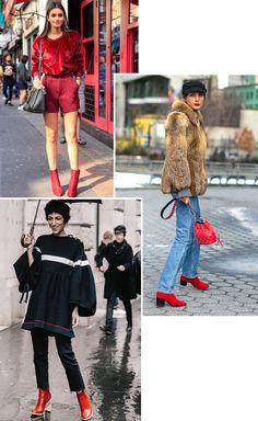 Street style look com bota vermelha. Se você ficou ligada nas últimas semanas de moda, viu que o vermelho marcou presença nos pés das fashionistas. Sinal de que ele chegará em formato de bota também. Um toque de cor no look é sempre estiloso, né?