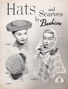 Vintage Knit and Crochet Pattern 1940s Woman Hats and Scarves on PDF. $5.00, via Etsy.