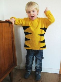 Tigerkostüm; Tiger Kostüm, Tigerkostüm, DIY, Selbermachen, Nähen, Basteln, Kostüme für Kleinkinder, Tragebild, Gelb, Schwarz