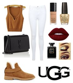 """""""Comfy date with UGG Australia"""" by marinaaflores ❤ liked on Polyvore featuring UGG, Miss Selfridge, Yves Saint Laurent, Lime Crime, Gucci, OPI, Urban Decay and ugg"""