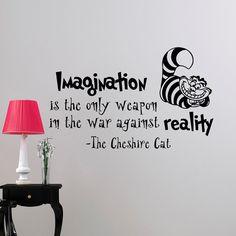 Alice au pays des merveilles Wall Decal citation Imagination est la seule arme Cheshire Cat Vinyl Stickers Home Decor pépinière Art chambre dortoir Q032