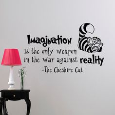 Alice In Wonderland Wall Decal Quote Imagination Is The Only Weapon Cheshire Cat Vinyl Stickers Home Decor Nursery Art Bedroom Dorm  Approximate
