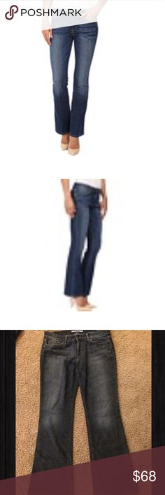 """JOES JEANS PROVOCATEUR JOES JEANS PROVOCATEUR SIZE 32 inseam 31"""". The Provocateur boasts a shorter inseam and silhouette-lengthening skinny fit. Flattering, mid-rise jean fits skinny through the hip and thigh and breaks at the knee to a fabulous bootcut leg. Fitted waistband is contoured to prevent gapping and accentuate curves.Dark blue denim with shadow whiskers, slight hand sanding, and faint local grinding.Leather logo patch set at back pocket. signature arc stitch at back. 98% cotton…"""