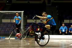 Cycleball.....soccer mixed with bikes....