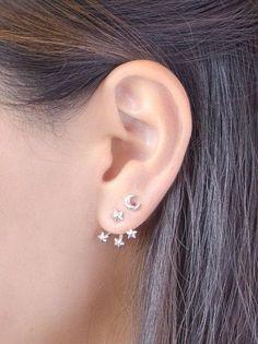 Tiny Stars Ear Jacket, Sterling Silver & Gold Plated, Dainty Earjackets, Jacket Earrings, Star Stud Earrings, Edgy Jewelry, Gift, EJ007