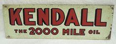 Kendall Vintage Flange (Old Antique The 2000 Mile Oil Advertising Sign)