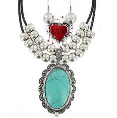 Chunky Turquoise Charm necklace by RainingRustic on Etsy, $20.00